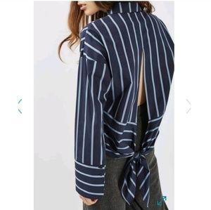 🆕TOPSHOP-Navy/Light Blue Striped Tie Back Blouse